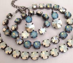 Swarovski crystal necklace  milky blue opal with by MISWINGS, $65.00