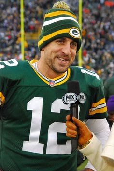 Aaron Rodgers in his Packers beanie 52363c066ad