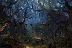 アートファンタジーアートの森のゴブリンの魔法- イメージ 1600x838