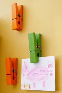 Love the large clothes pins to display this kids artwork. Great idea for playroom Art Wall Kids, Art For Kids, Crafts For Kids, Playroom Art, Kid Art, Kids Work, Playroom Ideas, Wall Art, Displaying Kids Artwork