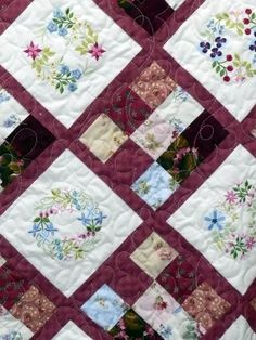 details of the Embroidered and pieced quilt.  The embroideries are from Janet Sansom.  I love her digitizing.