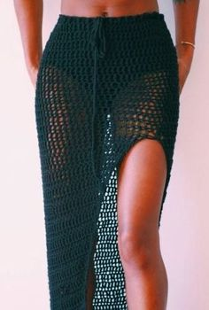 Crochet high slit skirt LOVE – Crochet for women # crochet # … – Swimsuit Crochet Skirt Pattern, Crochet Skirts, Crochet Clothes, Diy Clothes, Crochet Fashion, Diy Fashion, Fashion Clothes, Crochet Bathing Suits, Bathing Suit Skirt