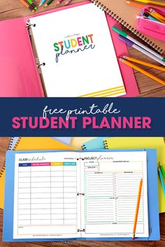 Keep your kids organized this school year with this free printable Student Planner. It's completely customizable -- so it's perfect for students of any age: elementary school, junior high school, high school and college. Homeschool Student Planner, Homework Planner, Student Planner Printable, Kids Planner, Study Planner, Free Planner, Printable Organization, Teacher Planner Free, Academic Planner