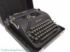 Vintage Smith Corona Art Deco STERLING MANUAL TYPEWRITER Works! Black+Case NICE!
