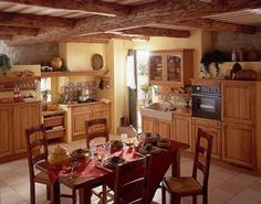 Italian Kitchen Decorating Ideas-pale yellow walls with oak cabinets