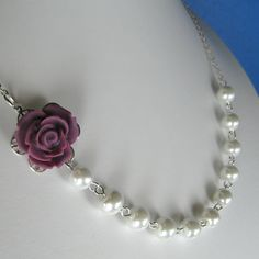 Rose pearl necklace, bridesmaids/wedding jewelry (Custom order - your choice of colour) WN13. $20.00, via Etsy.