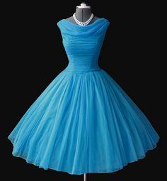 Sky blue chiffon 50's dress