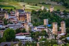 The ancient Svan towers, Mestia, Svaneti, Georgia Bhutan, Brunei, Towers, Nepal, Laos, Vietnam, Georgia, Tumblr, River
