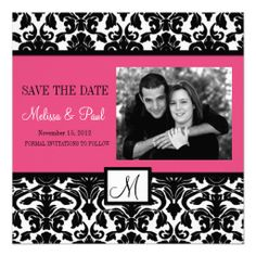 Hot Pink Damask Swirl Photo Save the Date Announcement ShoppingHere a great deal...