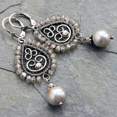 Paisley wire wrap pearl earrings.