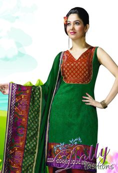 Green & Maroon Party Wear Floral Embroidered Churidar Suit