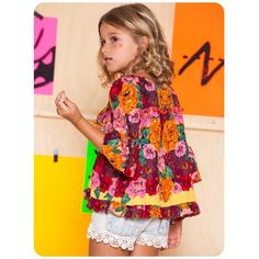 perfect flower blouse and short! by Brazilian brand Fábula Boho Baby Clothes, Trendy Kids, Stylish Kids, Fashion Kids, Girls Wardrobe, Kid Styles, Kids Wear, Kids Outfits, Model