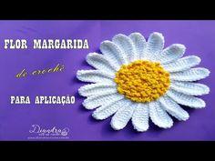 Flor de Crochê - Margarida para Aplicação - YouTube