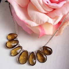 Amber Quartz and Sterling silver necklace £129.00
