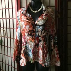 Long sleeve blouse Another treasure in my closet I forgot about. Beautiful fall colors and on the wrist the sleeves get wider. Remember getting many compliments on it. Hope u like it too!  Allison Taylor Tops Blouses