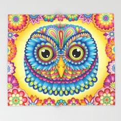 Colorful Owl Throw Blanket Featuring The Art Of Thaneeya McArdle