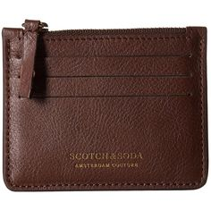 Scotch & Soda Leather Credit Card Holder with Zip (Brown) Credit card... ($25) ❤ liked on Polyvore featuring men's fashion, men's bags, men's wallets, brown, mens leather coin wallet, mens leather zipper wallet, mens zip wallet, mens leather zip around wallet and mens leather wallets