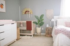 Tips on Creating a Nursery Nook in a Guest Room – Project Nursery - Modern Nursery Nook, Baby Nursery Decor, Baby Bedroom, Project Nursery, Nursery Ideas, Guest Room Nursery, Master Bedroom, Boho Nursery, Paris Nursery