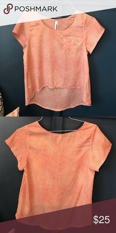 Event Pink Hi-Lo Top This pink top is absolutely adorable!  Details: Pink White Dots High-Low Detail  Excellent Condition. Gently Used. Smoke Free Environment.  Reasonable offers will be considered.  No trades. Event Tops Blouses