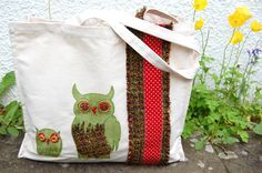 Appliqued Canvas Tote Bag // 'Owl & Owlet' in Green and Red // with Hand-Embroidered Detailing // Shopper, Nappy Bag, Beach Bag. €30.00, via Etsy.