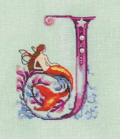 Letters From Mermaids J is the title of this cross stitch pattern from Nora Corbett.