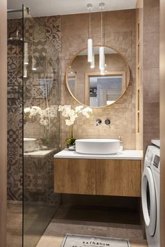 discover ideas about bathroom accents 30 « Home Decor Bathroom Design Luxury, Bathroom Layout, Modern Bathroom Design, Small Bathroom, 50s Bathroom, Houzz Bathroom, Bathroom Wall, Diy Mirrored Furniture, Furniture Ideas