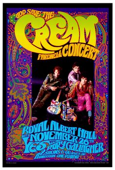As the classic rock band Cream was preparing for their final tour, psychedelic art innovator Bob Masse created this poster as a farewell tribute to the band. Born on Canada's west coast, Masse became famous for the blazing colors, unique swirled lettering and strong designs of his rock posters and album covers. Still designing highly original posters for today's musicians, Masse was influenced by Alphonse Mucha, the Art Nouveau movement and 60s-era art and music scene on America's West…