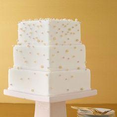 A Square Pearl Wedding Cake