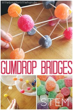Gumdrop Bridge Building STEM Engineering Activity Simple STEM Play and Learning for Kids Bridge building for kids is a perfect STEM {science. Kid Science, Stem Science, Science Lessons, Science Week, Engineering Science, Science Ideas, Science Experiments, Kitchen Science, Math Stem