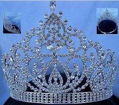 Beauty pageant silver clear crystal adjustable crown tiara - CrownDesigners