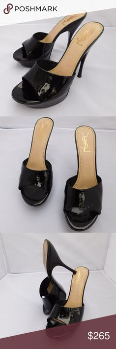 YSL OPEN TOE SLIP-ON PLATFORM HEELS SIZE 38.5 Brand- YSL YVES SAINT LAURENT  Style- HEELS  Size- 38.5  Color- BLACK  Material- PATENT LEATHER  Features- OPEN TOE OPEN HEEL  Condition- PRE-OWNED GOOD Yves Saint Laurent Shoes Heels