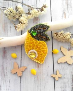 "Beaded brooch Lemon |  Купить Брошь ""Лимон"" - желтый, лимон, брошь лимон, желтая брошь, украшение, лето, фрукты"