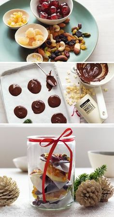 Gift friends and family with these cute fruit and nut chocolate drops. They're easy to make and look delightful placed in a Christmas gift box.