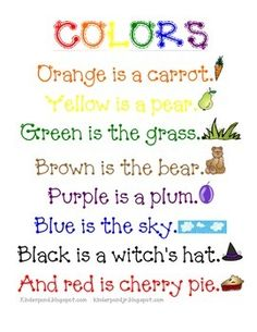 Using during my colors unit in Tot School.  I've used in with kindergartners as well.Here is a color poem I've typed up and added graphics.  I didn't write the poem, I just made it cute :)
