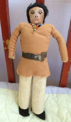 Vintage Male Navaho American Indian Doll,  1950's, All Original Cloth Doll, With Seed Beads. Handmade