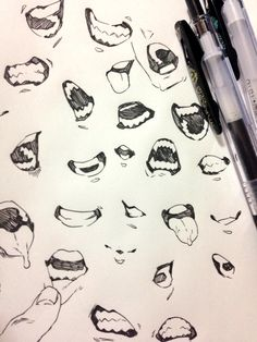Drawing Face Expressions, Anime Face Drawing, Mouth Drawing, Drawing Base, Figure Drawing Reference, Art Reference Poses, Design Reference, Drawing Sketches, Art Drawings