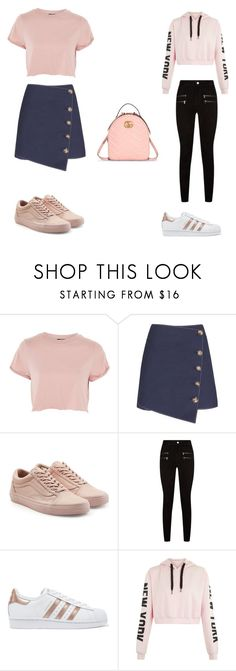College Time by kayfalcone on Polyvore featuring moda, Topshop, Paige Denim, Vans, adidas Originals and Gucci