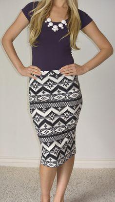 SexyModest Boutique. Tribal print pencil skirt