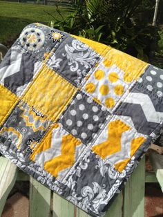 Shabby Chic Grey and Yellow Lap Quilt Chevron, Flowers, Damask, Dots on Etsy, $125.00