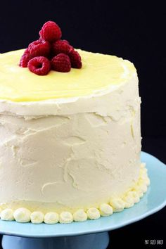 Three layers tall, this Raspberry and Lemon Layer Cake is sure to please my lemon loving family!