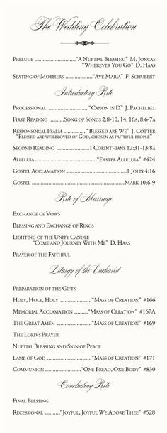 Catholic Wedding Program Examples Wording Directories Order Of Service Church Covers