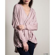 """""""Epithalamia"""" Diagonal Button Down Top Long sleeve top with a unique diagonal button up front. Only available in dusty pink. Loose fit runs half a size large. Brand new. NO TRADES. Bare Anthology Tops Tees - Long Sleeve"""