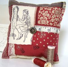 Vintage Style Seamstress Pin Cushion, Rustic Red, Home Decor, Autumn Trends