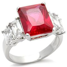 Three Stone CZ Rings - Ruby Red & White CZ Ring http://womensjewelrynews.blogspot.com/2013/11/14k-gold-diamond-jewelry-news.html #14k_Gold #14k_White_Gold #Necklaces #Pendants #jewelry #accessories #Ring #Wedding