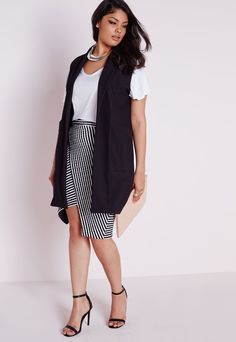 Plus Size Sleeveless Stretch Crepe Blazer Black