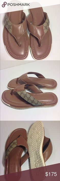 Gucci Men's Flip Flops Sandals Shoes Gucci Men's Flip Flops Sandals Shoes ... Size 44 ... Color: Brown  ... Material: Leather ... Condition: Mint without box Gucci Shoes Sandals & Flip-Flops