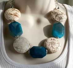Big Bold Huge Bead Statement Necklace Extra Large by 123Gemstones