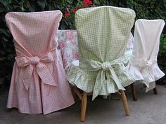 chair slipcovers  love these chair dresses....imagine, a new dress for holidays:)