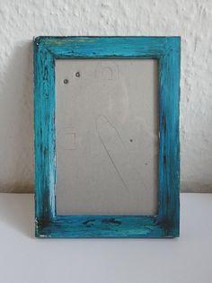 """Holzbilderrahmen im """"Shabby Chic""""-Style - Türkis"""