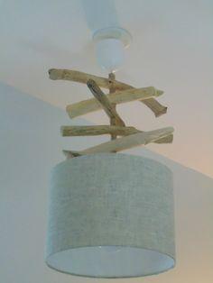 Lustre - suspension - plafonnier en bois flotté - création unique - lin 25 cm